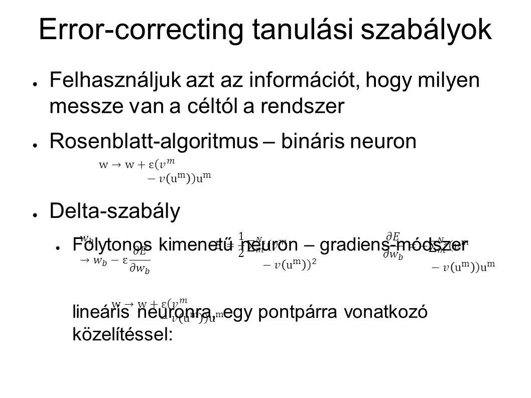 Error-correcting tanulási szabályok ● Felhasználjuk azt az információt, hogy milyen messze van a céltól a rendszer ● Rosenblatt-algoritmus – bináris n