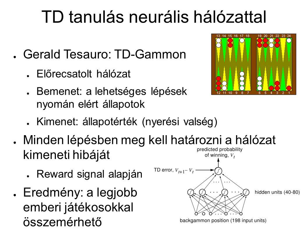 TD tanulás neurális hálózattal ● Gerald Tesauro: TD-Gammon ● Előrecsatolt hálózat ● Bemenet: a lehetséges lépések nyomán elért állapotok ● Kimenet: ál