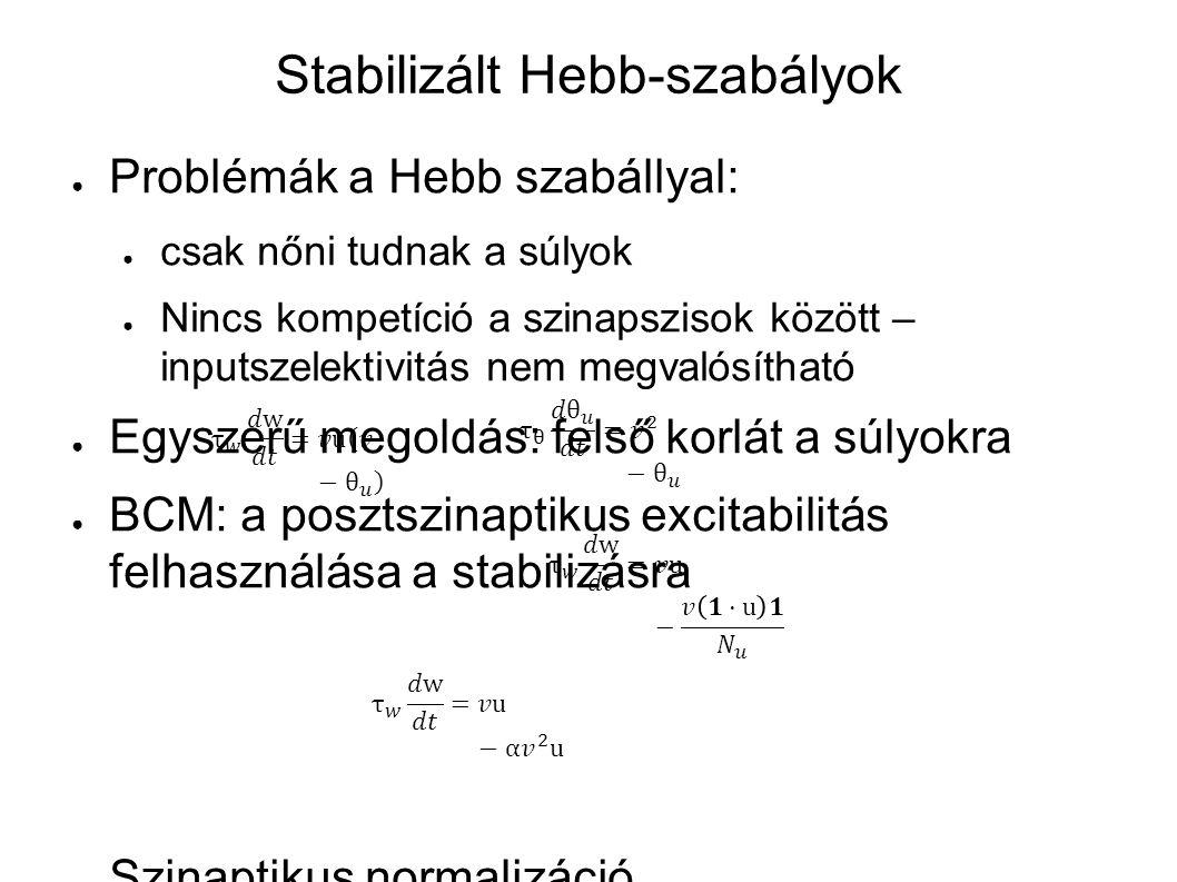 Stabilizált Hebb-szabályok ● Problémák a Hebb szabállyal: ● csak nőni tudnak a súlyok ● Nincs kompetíció a szinapszisok között – inputszelektivitás ne