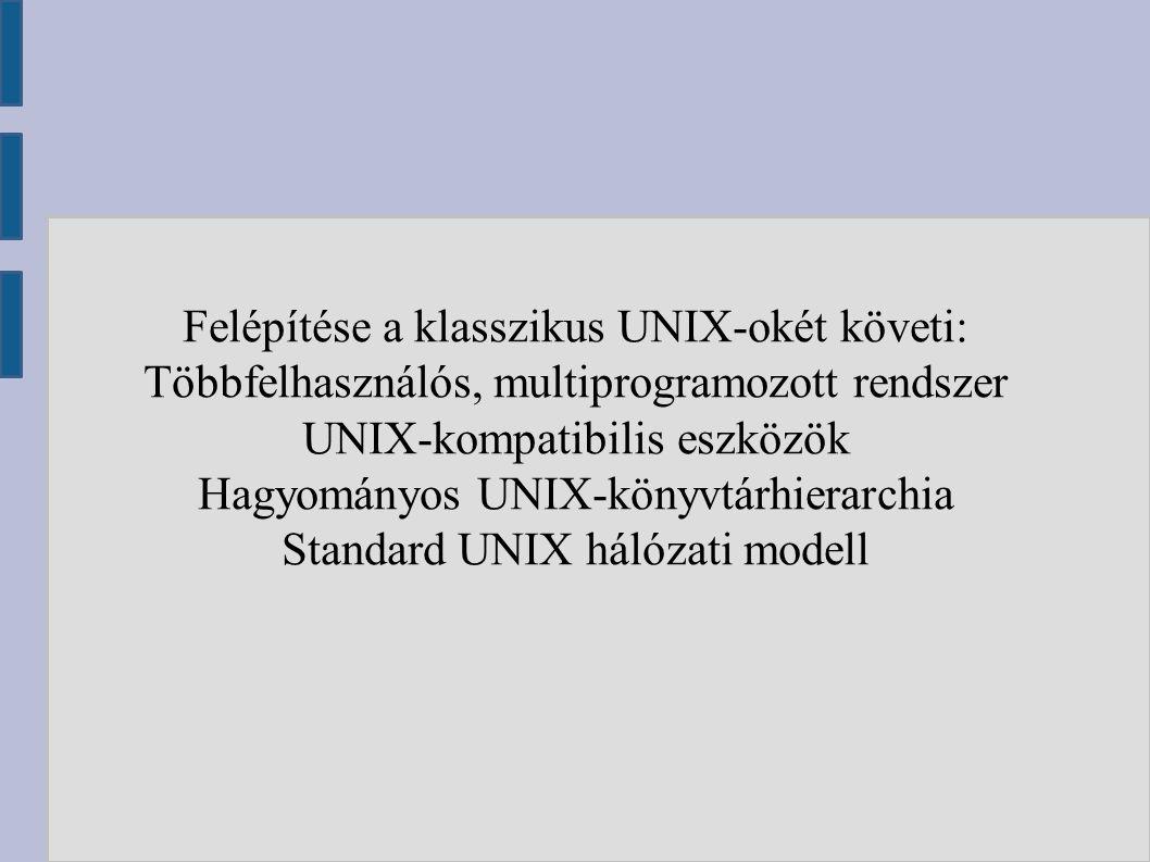 Felépítése a klasszikus UNIX-okét követi: Többfelhasználós, multiprogramozott rendszer UNIX-kompatibilis eszközök Hagyományos UNIX-könyvtárhierarchia Standard UNIX hálózati modell