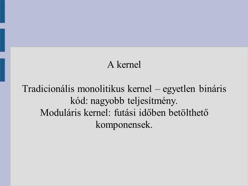 A kernel Tradicionális monolitikus kernel – egyetlen bináris kód: nagyobb teljesítmény.