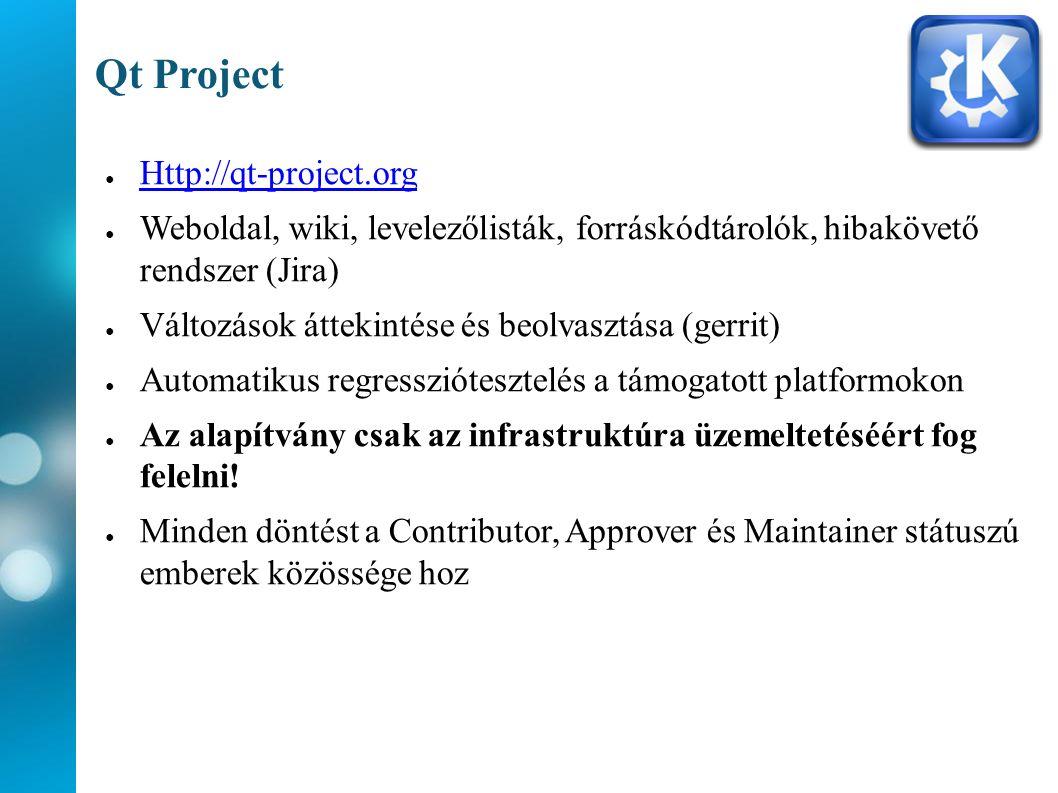 Qt Project ● Http://qt-project.org Http://qt-project.org ● Weboldal, wiki, levelezőlisták, forráskódtárolók, hibakövető rendszer (Jira) ● Változások áttekintése és beolvasztása (gerrit) ● Automatikus regressziótesztelés a támogatott platformokon ● Az alapítvány csak az infrastruktúra üzemeltetéséért fog felelni.