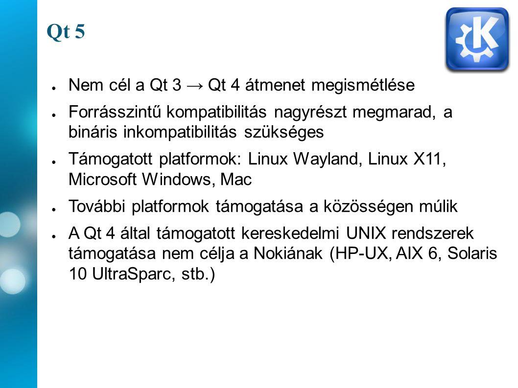 Qt 5 ● Nem cél a Qt 3 → Qt 4 átmenet megismétlése ● Forrásszintű kompatibilitás nagyrészt megmarad, a bináris inkompatibilitás szükséges ● Támogatott platformok: Linux Wayland, Linux X11, Microsoft Windows, Mac ● További platformok támogatása a közösségen múlik ● A Qt 4 által támogatott kereskedelmi UNIX rendszerek támogatása nem célja a Nokiának (HP-UX, AIX 6, Solaris 10 UltraSparc, stb.)