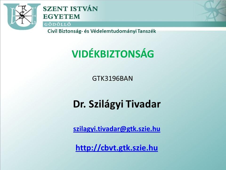 Civil Biztonság- és Védelemtudományi Tanszék VIDÉKBIZTONSÁG Dr. Szilágyi Tivadar szilagyi.tivadar@gtk.szie.hu http://cbvt.gtk.szie.hu GTK3196BAN