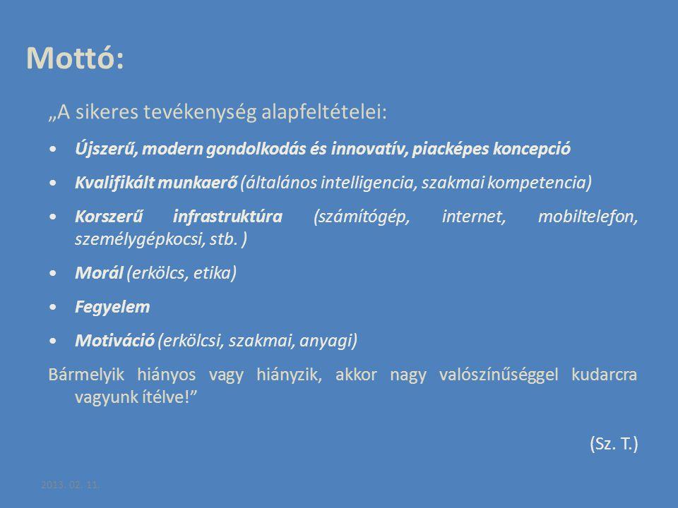 """2013. 02. 11. Mottó: """"A sikeres tevékenység alapfeltételei: Újszerű, modern gondolkodás és innovatív, piacképes koncepció Kvalifikált munkaerő (általá"""