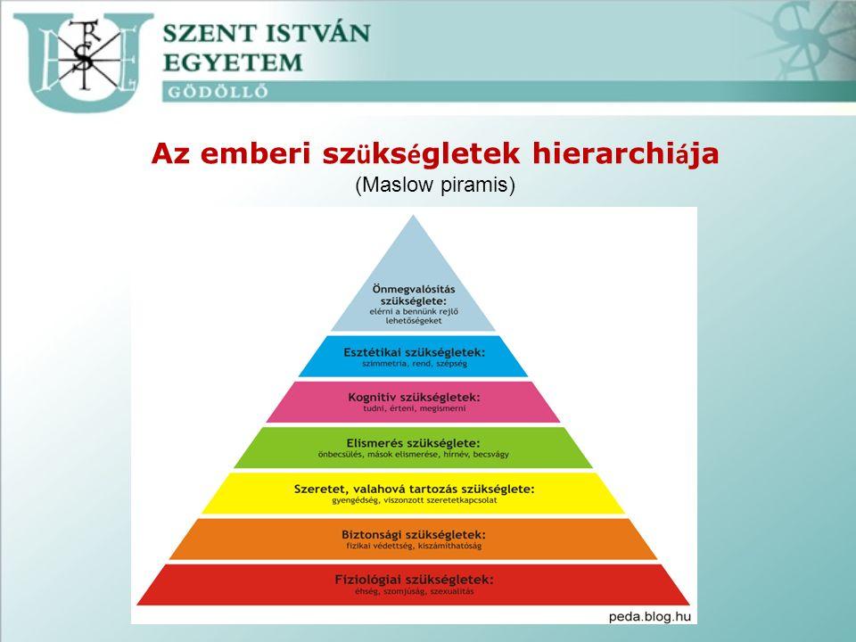 Az emberi sz ü ks é gletek hierarchi á ja (Maslow piramis)