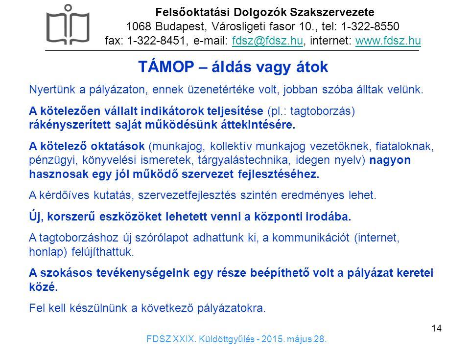 14 Felsőoktatási Dolgozók Szakszervezete 1068 Budapest, Városligeti fasor 10., tel: 1-322-8550 fax: 1-322-8451, e-mail: fdsz@fdsz.hu, internet: www.fdsz.hufdsz@fdsz.huwww.fdsz.hu FDSZ XXIX.