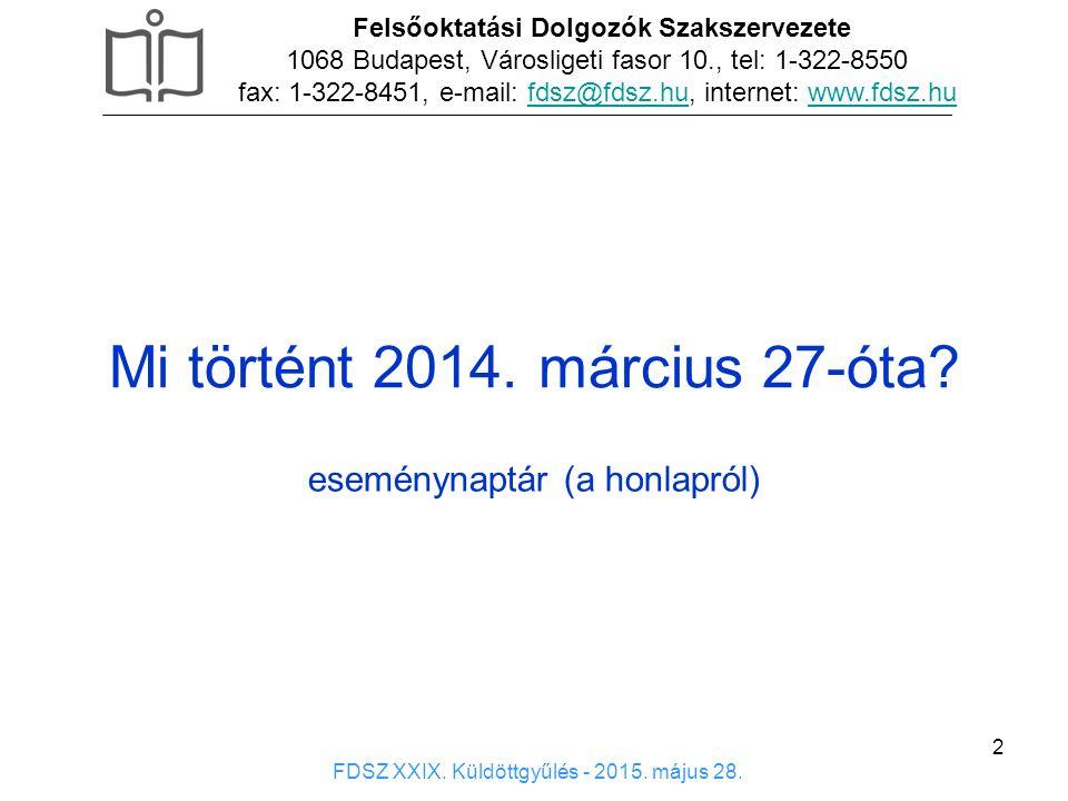 3 Felsőoktatási Dolgozók Szakszervezete 1068 Budapest, Városligeti fasor 10., tel: 1-322-8550 fax: 1-322-8451, e-mail: fdsz@fdsz.hu, internet: www.fdsz.hufdsz@fdsz.huwww.fdsz.hu FDSZ XXIX.