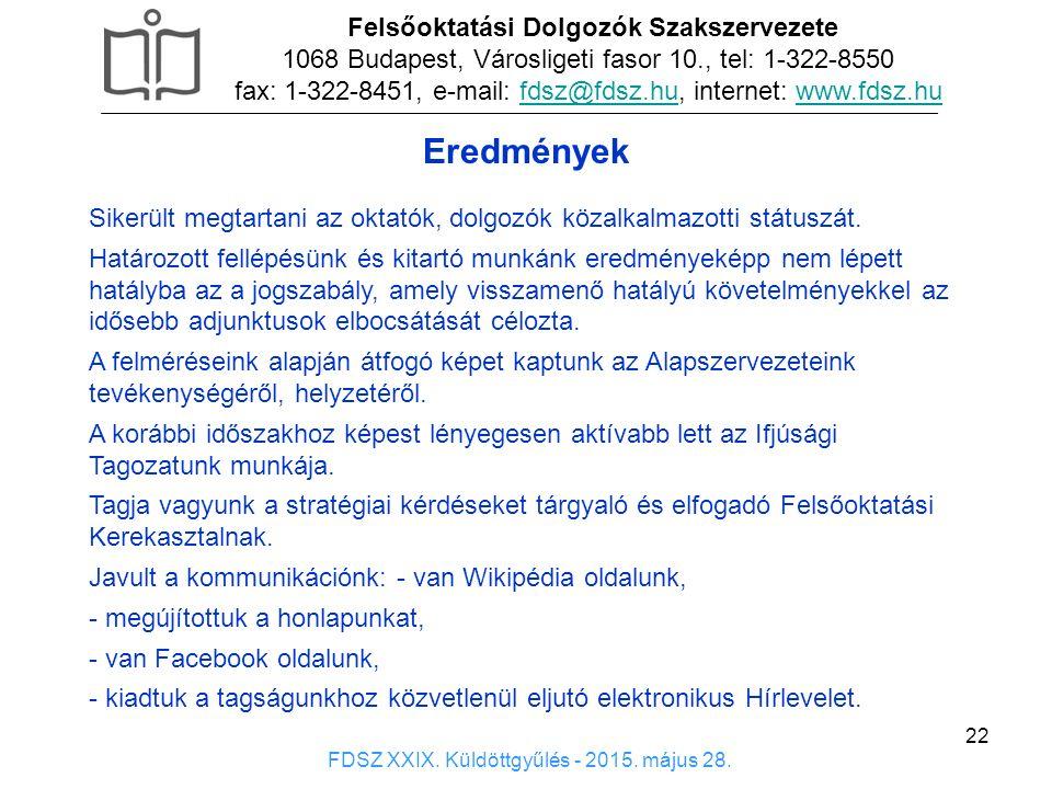 22 Eredmények Felsőoktatási Dolgozók Szakszervezete 1068 Budapest, Városligeti fasor 10., tel: 1-322-8550 fax: 1-322-8451, e-mail: fdsz@fdsz.hu, internet: www.fdsz.hufdsz@fdsz.huwww.fdsz.hu FDSZ XXIX.