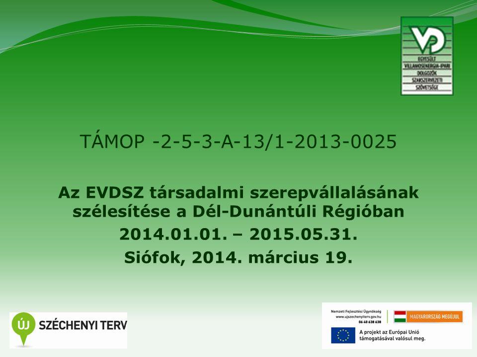1 TÁMOP -2-5-3-A-13/1-2013-0025 Az EVDSZ társadalmi szerepvállalásának szélesítése a Dél-Dunántúli Régióban 2014.01.01. – 2015.05.31. Siófok, 2014. má