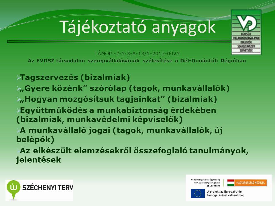 Tájékoztató anyagok TÁMOP -2-5-3-A-13/1-2013-0025 Az EVDSZ társadalmi szerepvállalásának szélesítése a Dél-Dunántúli Régióban  Tagszervezés (bizalmia