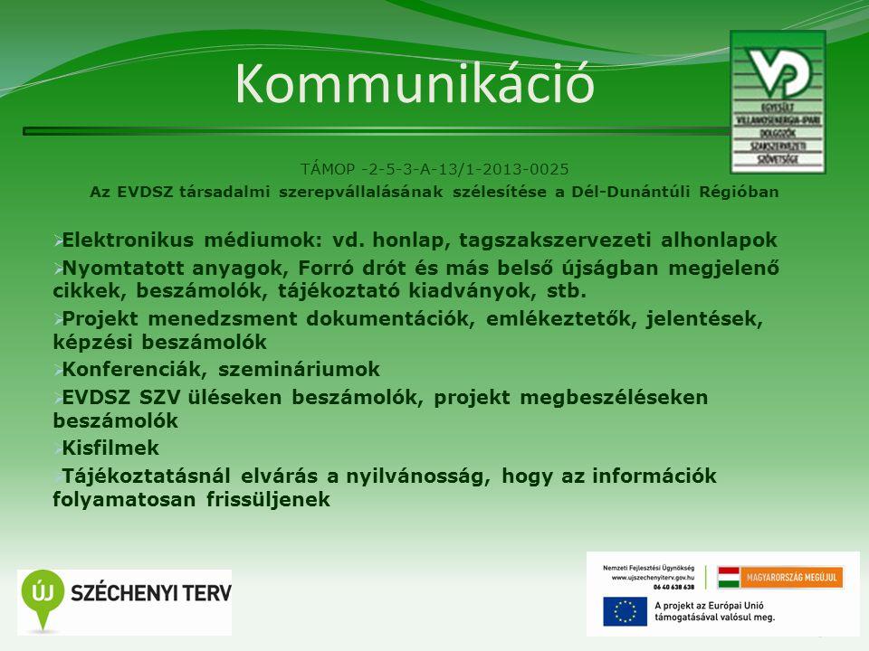 Kommunikáció TÁMOP -2-5-3-A-13/1-2013-0025 Az EVDSZ társadalmi szerepvállalásának szélesítése a Dél-Dunántúli Régióban  Elektronikus médiumok: vd. ho
