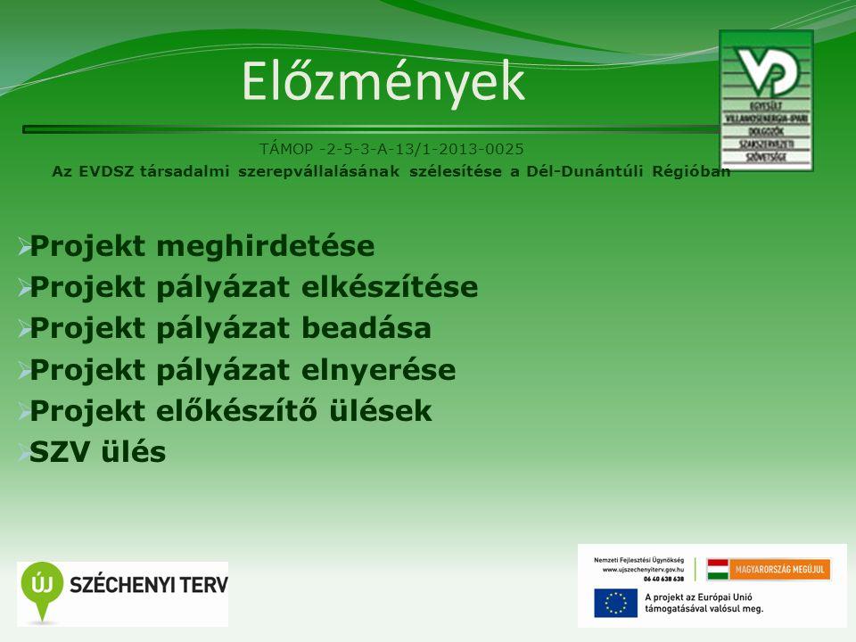 Előzmények TÁMOP -2-5-3-A-13/1-2013-0025 Az EVDSZ társadalmi szerepvállalásának szélesítése a Dél-Dunántúli Régióban  Projekt meghirdetése  Projekt