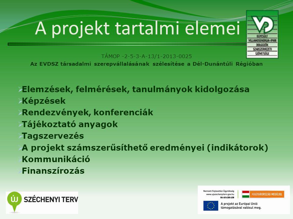 A projekt tartalmi elemei TÁMOP -2-5-3-A-13/1-2013-0025 Az EVDSZ társadalmi szerepvállalásának szélesítése a Dél-Dunántúli Régióban  Elemzések, felmé