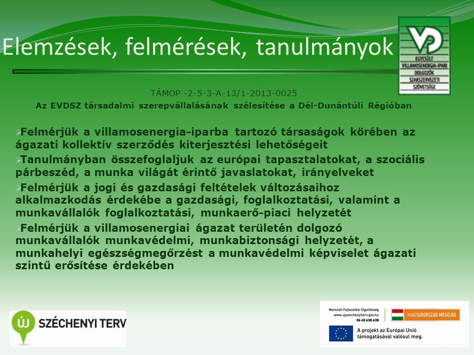 Elemzések, felmérések, tanulmányok TÁMOP -2-5-3-A-13/1-2013-0025 Az EVDSZ társadalmi szerepvállalásának szélesítése a Dél-Dunántúli Régióban  Felmérj