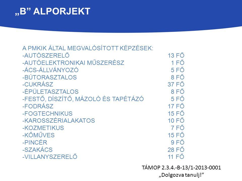 """""""B ALPORJEKT TÁMOP 2.3.4.-B-13/1-2013-0001 """"Dolgozva tanulj! A PMKIK ÁLTAL MEGVALÓSÍTOTT KÉPZÉSEK: -AUTÓSZERELŐ 13 FŐ -AUTÓELEKTRONIKAI MŰSZERÉSZ 1 FŐ -ÁCS-ÁLLVÁNYOZÓ 5 FŐ -BÚTORASZTALOS 8 FŐ -CUKRÁSZ 37 FŐ -ÉPÜLETASZTALOS 8 FŐ -FESTŐ, DÍSZÍTŐ, MÁZOLÓ ÉS TAPÉTÁZÓ 5 FŐ -FODRÁSZ17 FŐ -FOGTECHNIKUS15 FŐ -KAROSSZÉRIALAKATOS10 FŐ -KOZMETIKUS 7 FŐ -KŐMŰVES15 FŐ -PINCÉR 9 FŐ -SZAKÁCS28 FŐ -VILLANYSZERELŐ11 FŐ - Autószerelő: 13 fő"""
