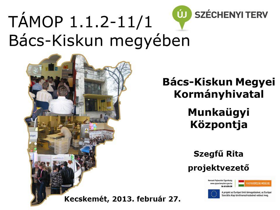 TÁMOP 1.1.2-11/1 Bács-Kiskun megyében Bács-Kiskun Megyei Kormányhivatal Munkaügyi Központja Szegfű Rita projektvezető Kecskemét, 2013.