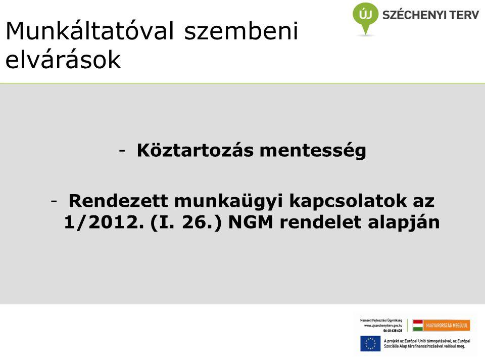 Munkáltatóval szembeni elvárások -Köztartozás mentesség -Rendezett munkaügyi kapcsolatok az 1/2012.