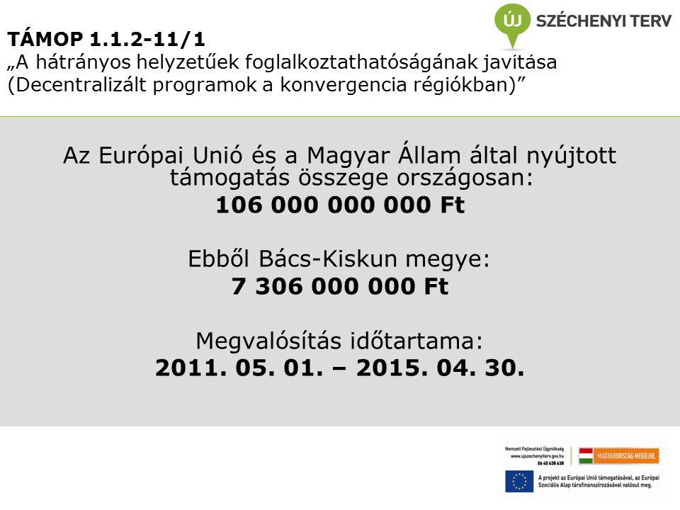 """TÁMOP 1.1.2-11/1 """"A hátrányos helyzetűek foglalkoztathatóságának javítása (Decentralizált programok a konvergencia régiókban) Az Európai Unió és a Magyar Állam által nyújtott támogatás összege országosan: 106 000 000 000 Ft Ebből Bács-Kiskun megye: 7 306 000 000 Ft Megvalósítás időtartama: 2011."""