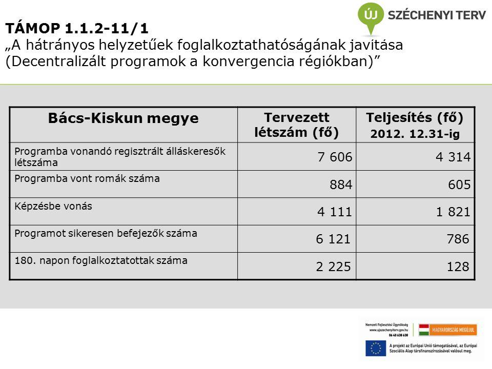 """TÁMOP 1.1.2-11/1 """"A hátrányos helyzetűek foglalkoztathatóságának javítása (Decentralizált programok a konvergencia régiókban) Bács-Kiskun megye Tervezett létszám (fő) Teljesítés (fő) 2012."""