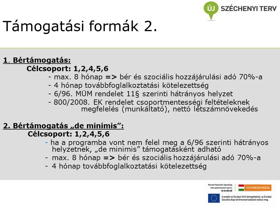 Támogatási formák 2. 1. Bértámogatás: Célcsoport: 1,2,4,5,6 - max.