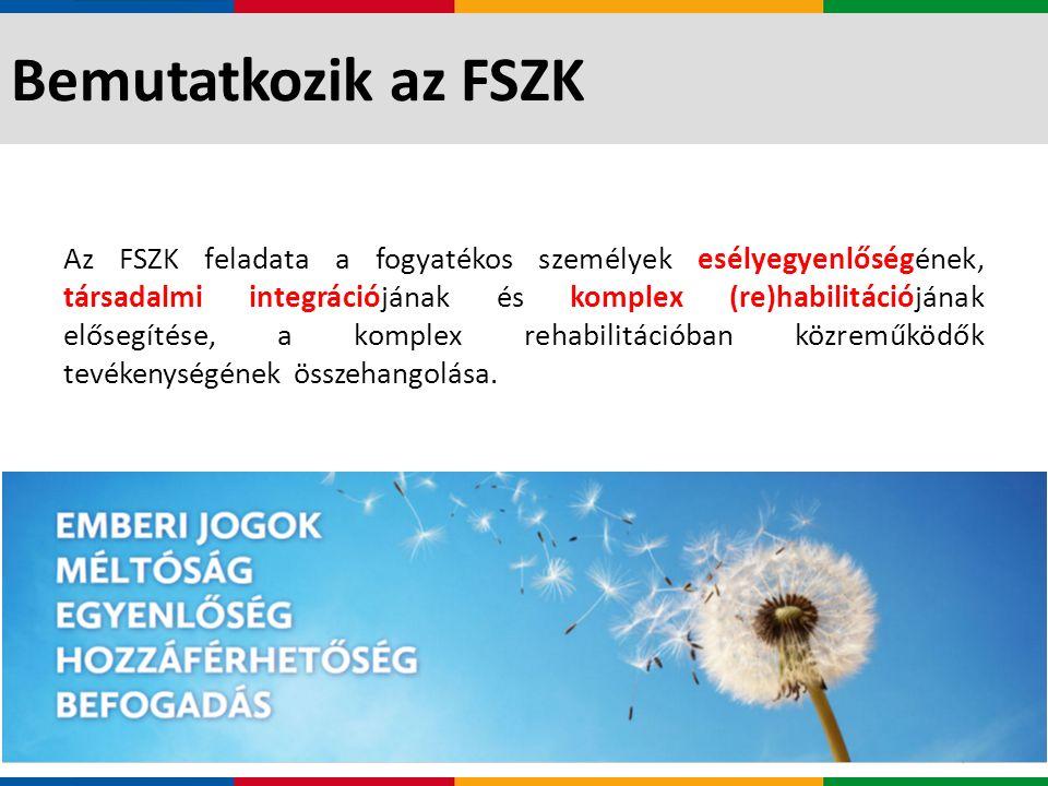 Bemutatkozik az FSZK Közel 20 éves múlt Hazai és EU-s fejlesztések valamennyi fogyatékossági területen Teljes életkori spektrum Összekötő kapocs a terep és az államigazgatás között Az FSZK céljait, mint nagy szakmai tudásbázissal rendelkező, módszertani fejlesztéseket generáló, szakmai műhelyeket működtető és felnőttképző intézmény, továbbá mint pályáztató szervezet valósítja meg.
