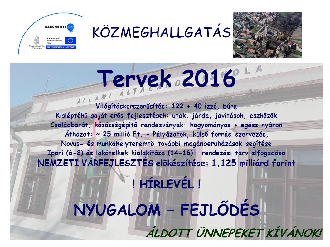KÖZMEGHALLGATÁS Egy lakosra jutó támogatás 2007-2015: 141.944 Ft.