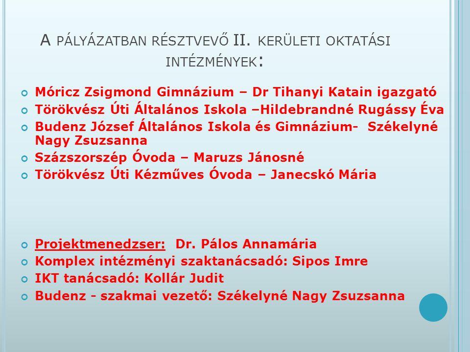 A PÁLYÁZATBAN RÉSZTVEVŐ II.