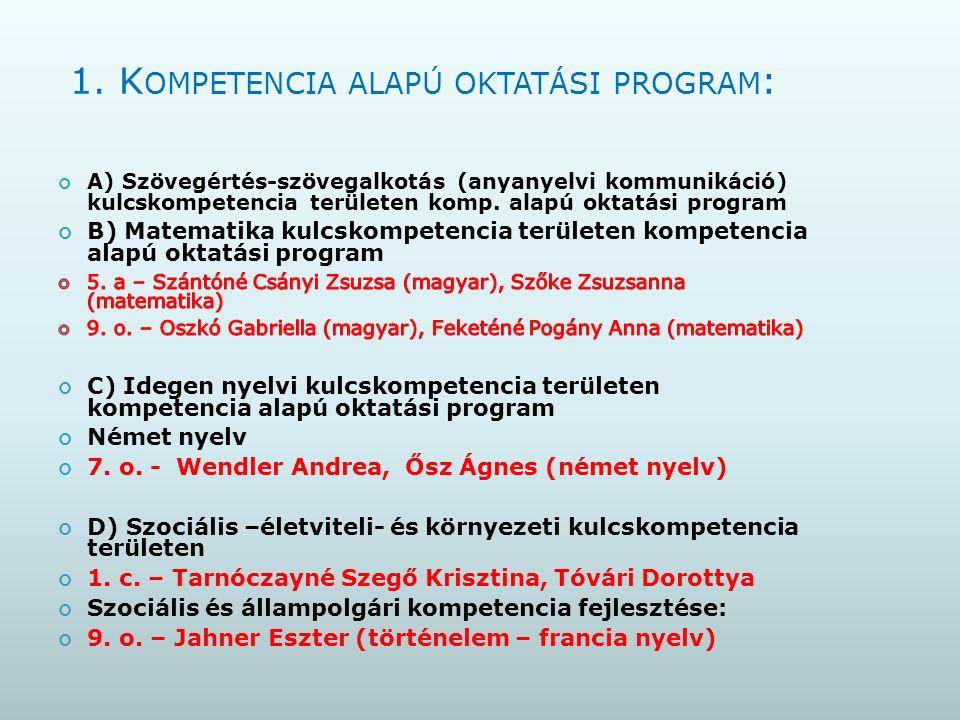 2.T ANTÁRGYTÖMBÖSÍTETT OKTATÁS Technika-életvitel - moduláris oktatás 5.