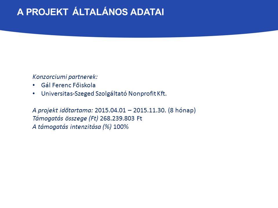 A PROJEKT ÁLTALÁNOS ADATAI Konzorciumi partnerek: Gál Ferenc Főiskola Universitas-Szeged Szolgáltató Nonprofit Kft. A projekt időtartama: 2015.04.01 –