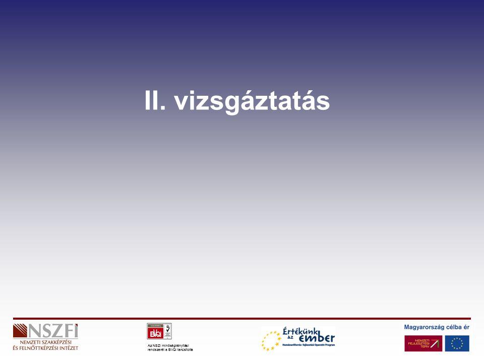 Az NSZI minőségirányítási rendszerét a BVQI tanúsította II. vizsgáztatás