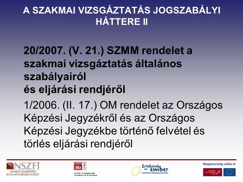 Az NSZI minőségirányítási rendszerét a BVQI tanúsította A SZAKMAI VIZSGÁZTATÁS JOGSZABÁLYI HÁTTERE II 20/2007.