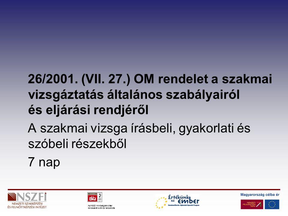 Az NSZI minőségirányítási rendszerét a BVQI tanúsította 26/2001.