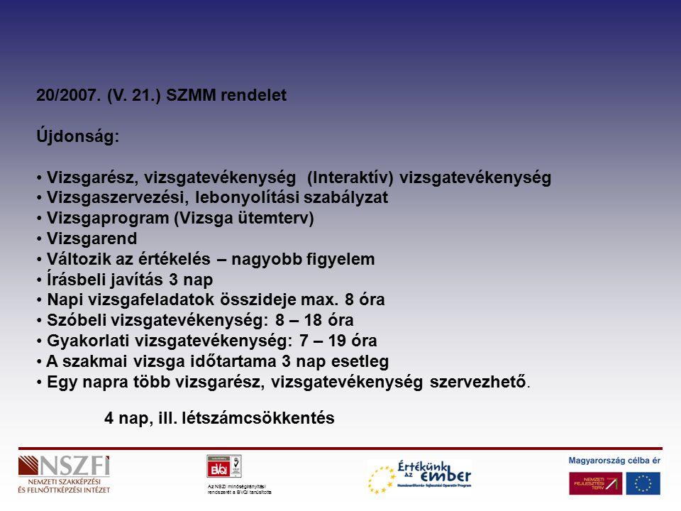 Az NSZI minőségirányítási rendszerét a BVQI tanúsította 20/2007.