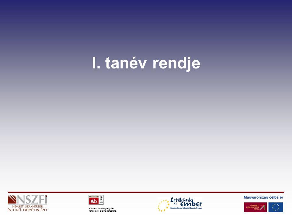 Az NSZI minőségirányítási rendszerét a BVQI tanúsította I. tanév rendje