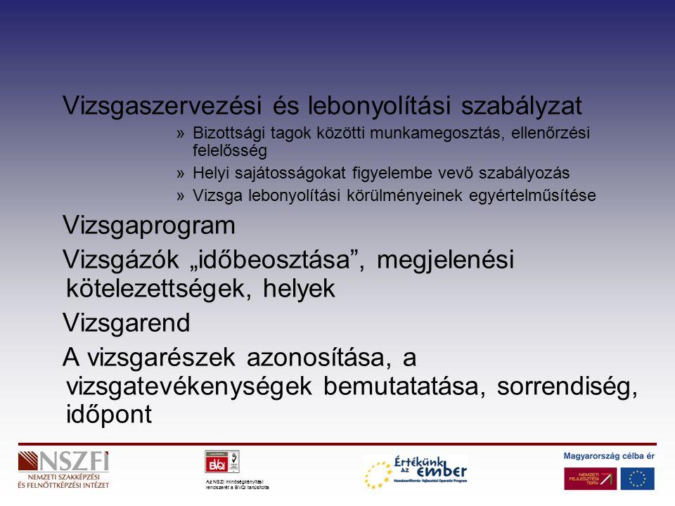 """Az NSZI minőségirányítási rendszerét a BVQI tanúsította Vizsgaszervezési és lebonyolítási szabályzat »Bizottsági tagok közötti munkamegosztás, ellenőrzési felelősség »Helyi sajátosságokat figyelembe vevő szabályozás »Vizsga lebonyolítási körülményeinek egyértelműsítése Vizsgaprogram Vizsgázók """"időbeosztása , megjelenési kötelezettségek, helyek Vizsgarend A vizsgarészek azonosítása, a vizsgatevékenységek bemutatatása, sorrendiség, időpont"""
