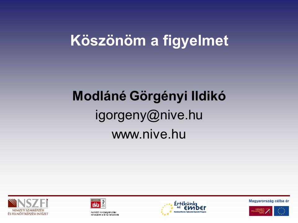 Az NSZI minőségirányítási rendszerét a BVQI tanúsította Köszönöm a figyelmet Modláné Görgényi Ildikó igorgeny@nive.hu www.nive.hu