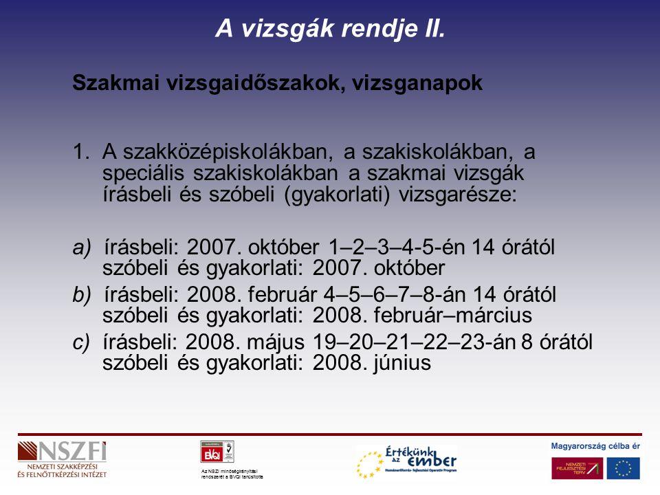 Az NSZI minőségirányítási rendszerét a BVQI tanúsította A tanulmányi versenyek A szakképesítésért felelős miniszter az általa kiírt szakmai tanulmányi versenyre vonatkozó felhívást 2007.