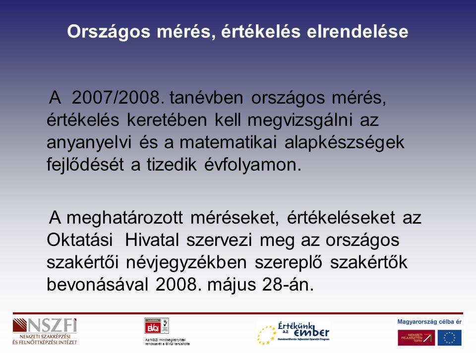 Az NSZI minőségirányítási rendszerét a BVQI tanúsította Országos mérés, értékelés elrendelése A 2007/2008.