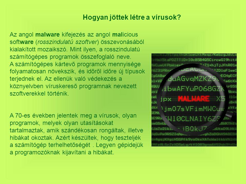 A vírusok fajtái vírusok férgek (worm) kémprogramok (spyware), agresszív reklámprogramok (adware), Rootkit: a rendszerben láthatatlanul megbúvó, egy támadónak emelt jogokat biztosító eszközök.