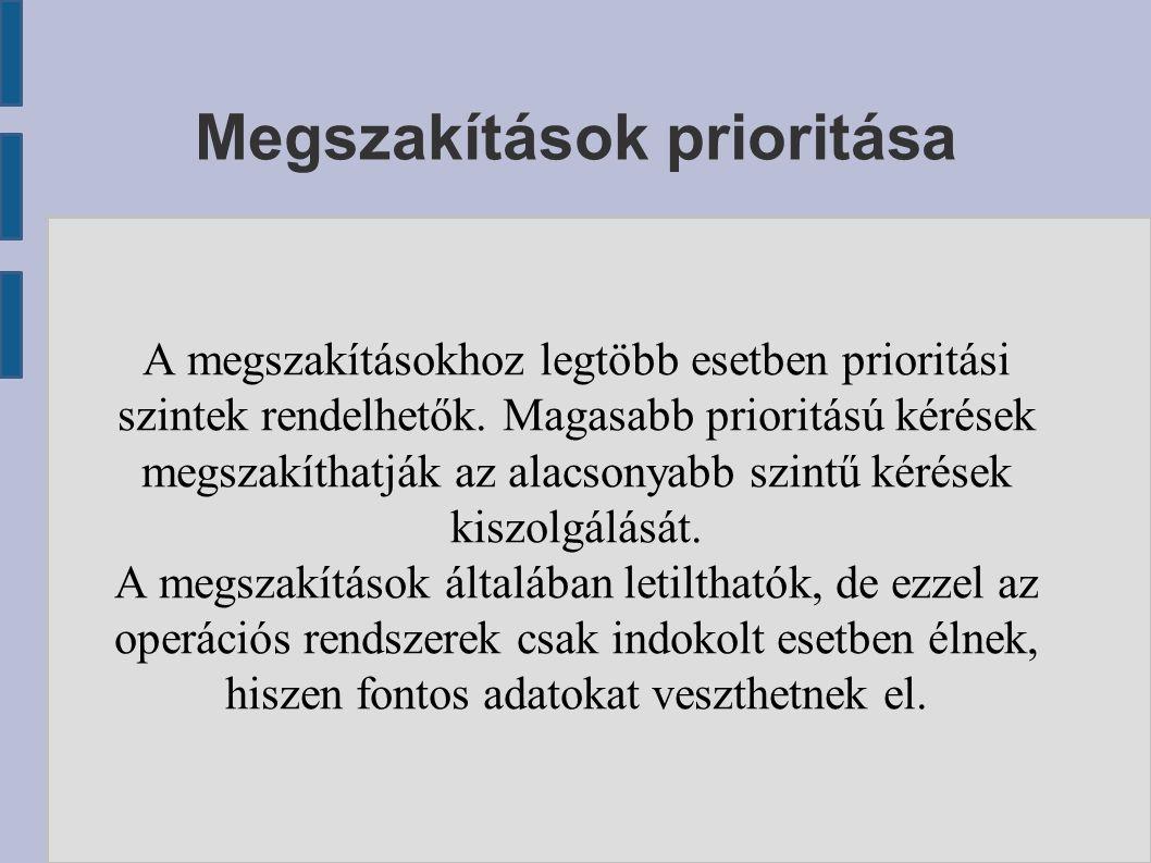 Megszakítások prioritása A megszakításokhoz legtöbb esetben prioritási szintek rendelhetők. Magasabb prioritású kérések megszakíthatják az alacsonyabb