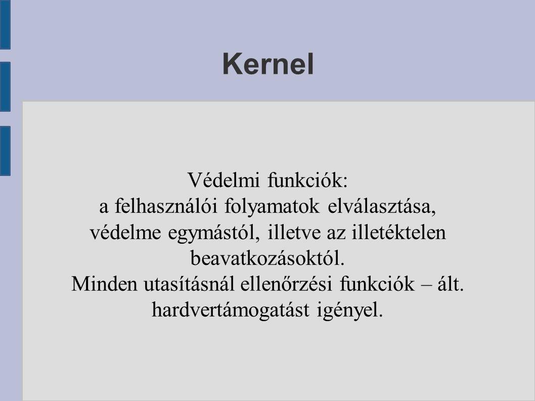 Kernel Védelmi funkciók: a felhasználói folyamatok elválasztása, védelme egymástól, illetve az illetéktelen beavatkozásoktól.