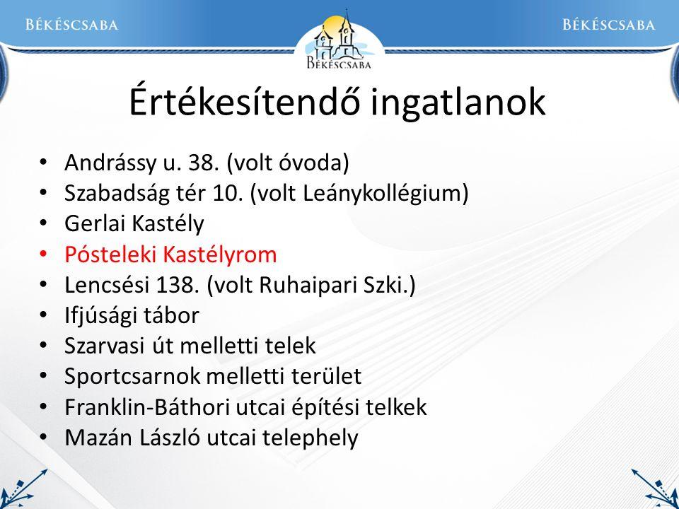 Értékesítendő ingatlanok Andrássy u. 38. (volt óvoda) Szabadság tér 10.