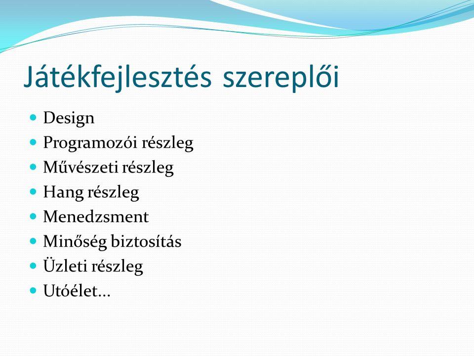 Játékfejlesztés szereplői Design Programozói részleg Művészeti részleg Hang részleg Menedzsment Minőség biztosítás Üzleti részleg Utóélet...