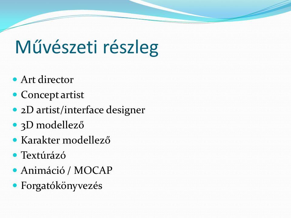 Művészeti részleg Art director Concept artist 2D artist/interface designer 3D modellező Karakter modellező Textúrázó Animáció / MOCAP Forgatókönyvezés