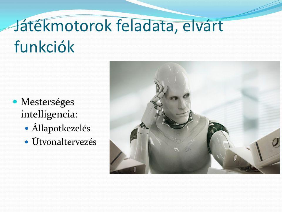 Játékmotorok feladata, elvárt funkciók Mesterséges intelligencia: Állapotkezelés Útvonaltervezés