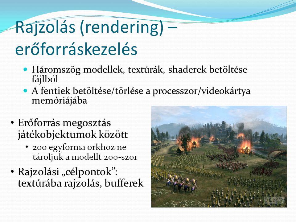 """Rajzolás (rendering) – erőforráskezelés Háromszög modellek, textúrák, shaderek betöltése fájlból A fentiek betöltése/törlése a processzor/videokártya memóriájába Erőforrás megosztás játékobjektumok között 200 egyforma orkhoz ne tároljuk a modellt 200-szor Rajzolási """"célpontok : textúrába rajzolás, bufferek"""