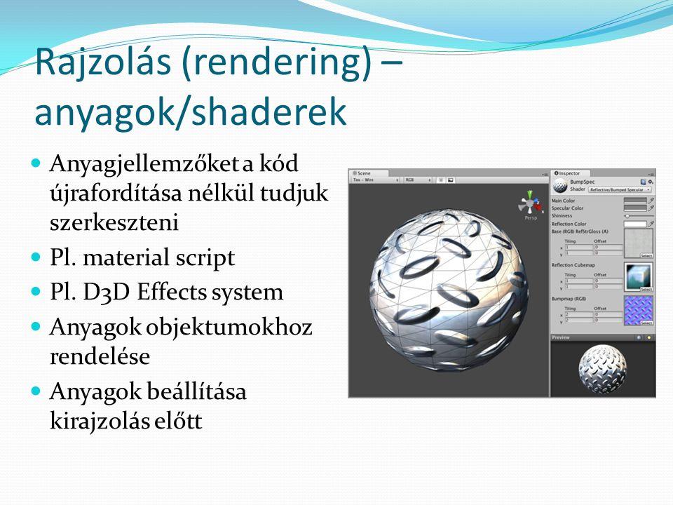 Rajzolás (rendering) – anyagok/shaderek Anyagjellemzőket a kód újrafordítása nélkül tudjuk szerkeszteni Pl.