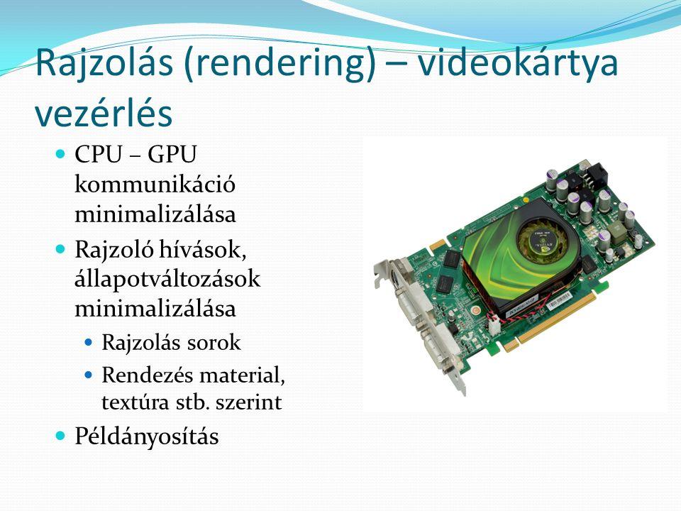 Rajzolás (rendering) – videokártya vezérlés CPU – GPU kommunikáció minimalizálása Rajzoló hívások, állapotváltozások minimalizálása Rajzolás sorok Rendezés material, textúra stb.