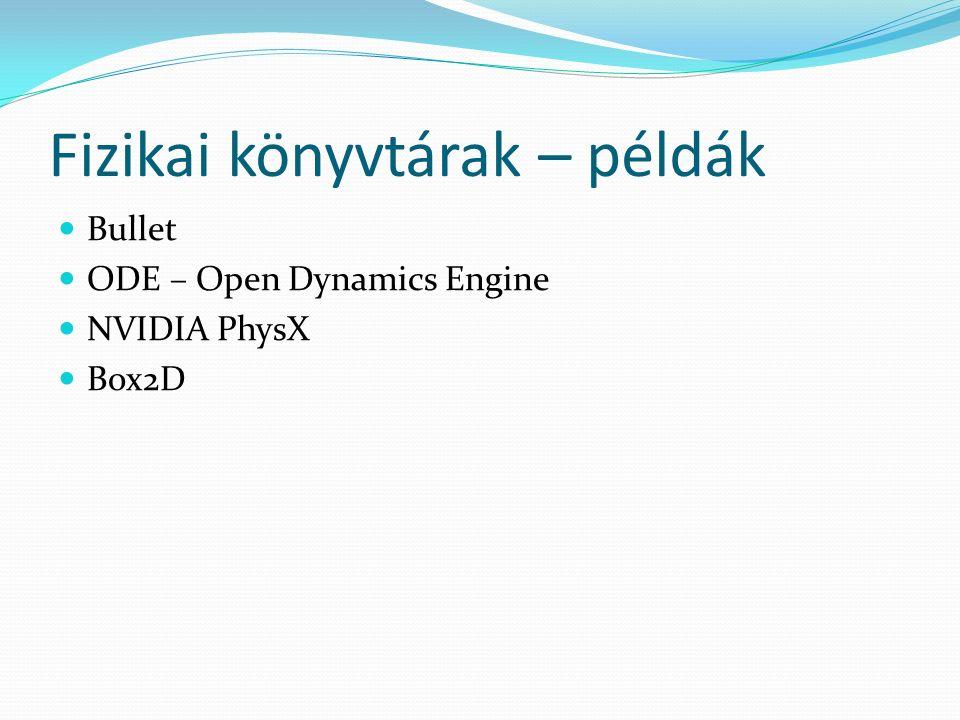 Fizikai könyvtárak – példák Bullet ODE – Open Dynamics Engine NVIDIA PhysX Box2D